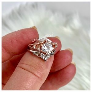 Two-Piece Silver-Rose Gold Ring Set